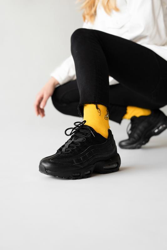 Шикарные женские кроссовки nike air max 95 triple black чёрные...