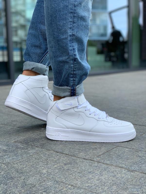 Шикарные мужские кроссовки nike air force 1 high white белые 😃...