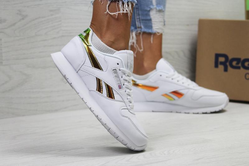Шикарные женские кроссовки reebok classic белые с золотистым 😃...