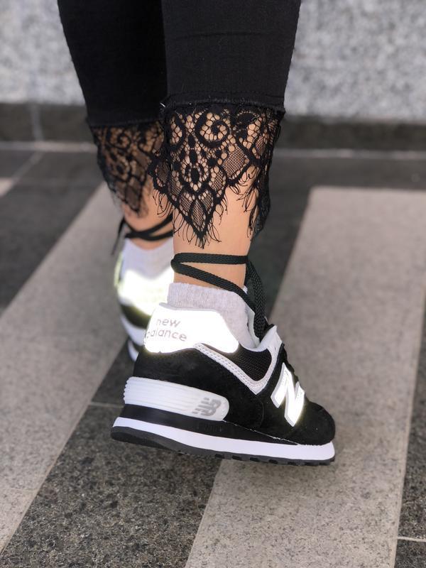 Шикарные женские кроссовки new balance 574 black чёрные с белы...