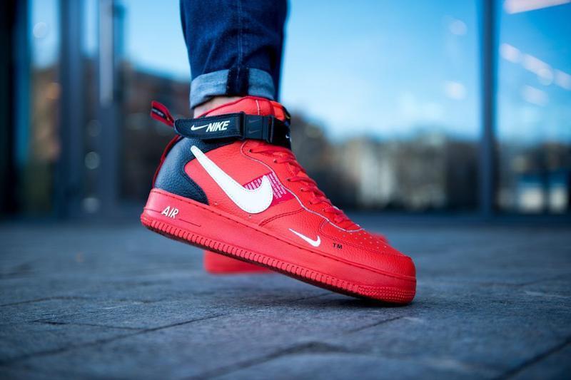 Шикарные мужские кроссовки nike air force 1 high red красные 😃...