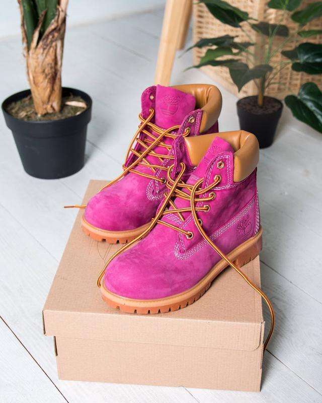 Шикарные женские ботинки timberland boots малиновые 😃 (весна о...