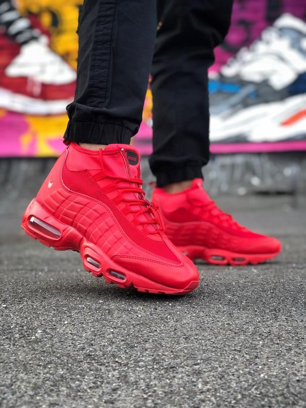 Шикарные мужские ботинки nike air max 95 sneakerbots red красн...