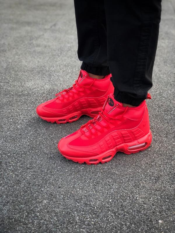 Шикарные мужские ботинки nike air max 95 sneakerbots red красн... - Фото 3