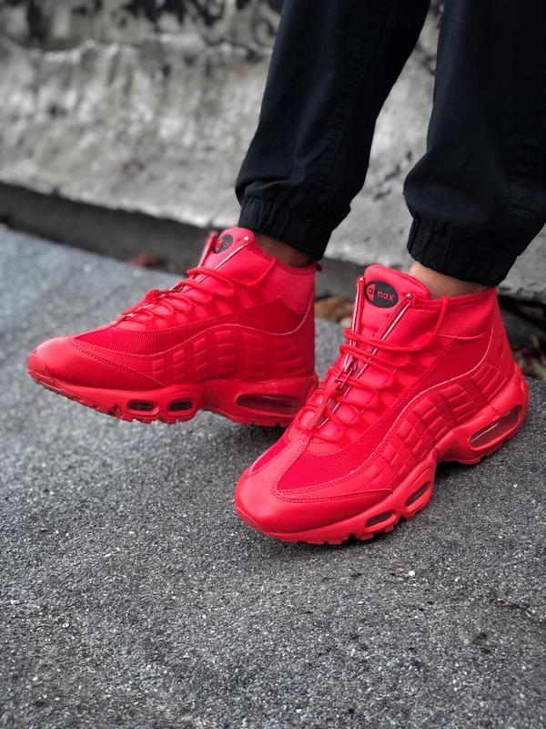 Шикарные мужские ботинки nike air max 95 sneakerbots red красн... - Фото 4