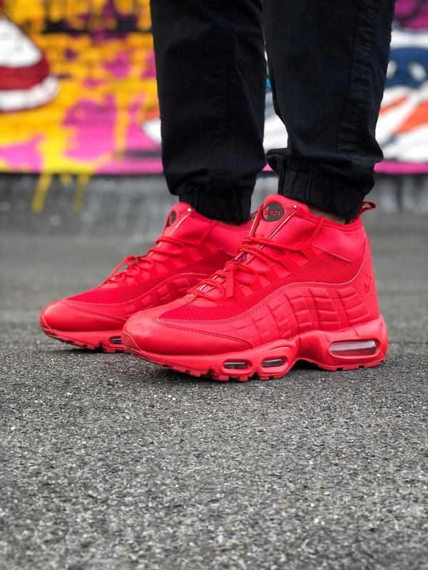 Шикарные мужские ботинки nike air max 95 sneakerbots red красн... - Фото 5
