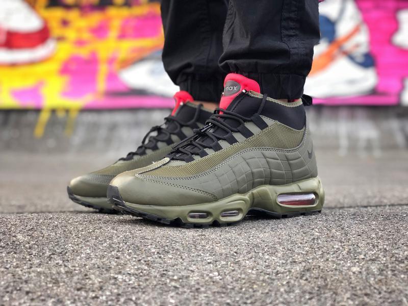 Шикарные мужские ботинки nike air max 95 sneakerbots хаки зеле...