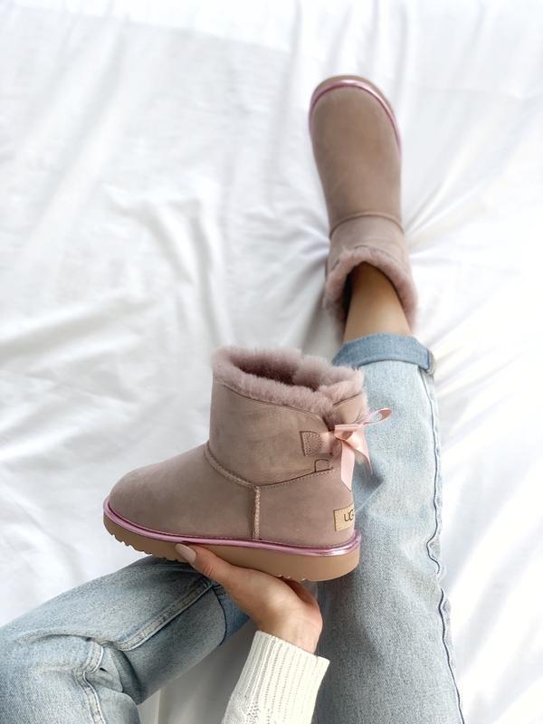 Шикарные женские сапоги угги ugg bailey bow mini pink розовые😃...