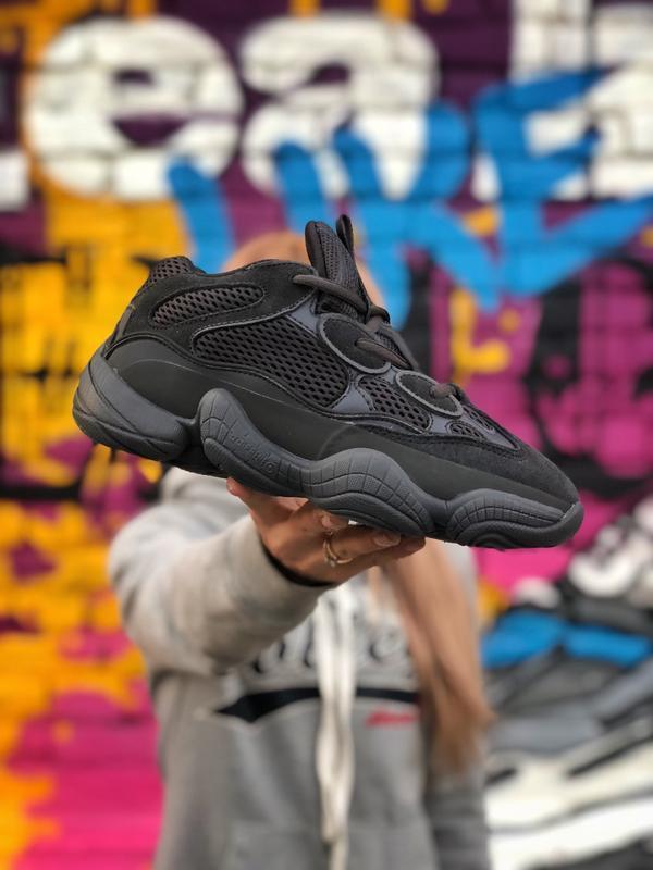Шикарные мужские кроссовки adidas yeezy boost 500 black чёрные...