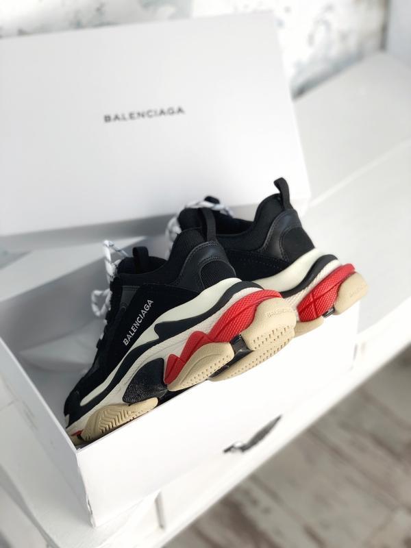 Шикарные женские кроссовки balenciaga triple s black red😃 (вес...