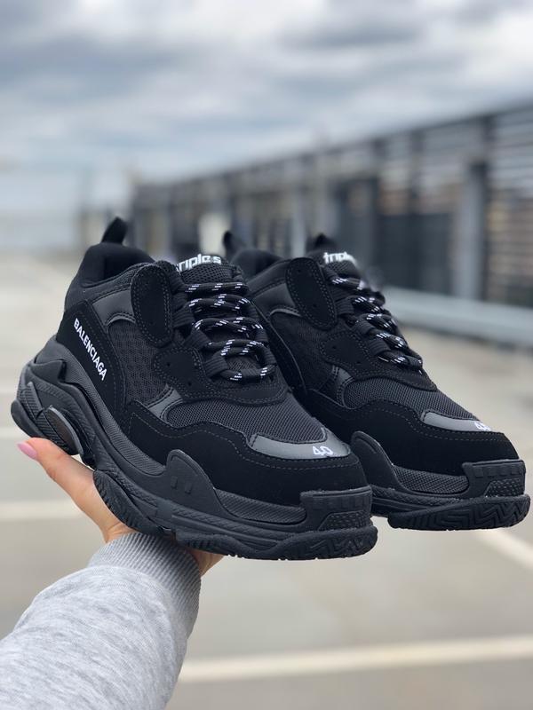 Шикарные мужские кроссовки balenciaga triple s all black 😃 (ве...