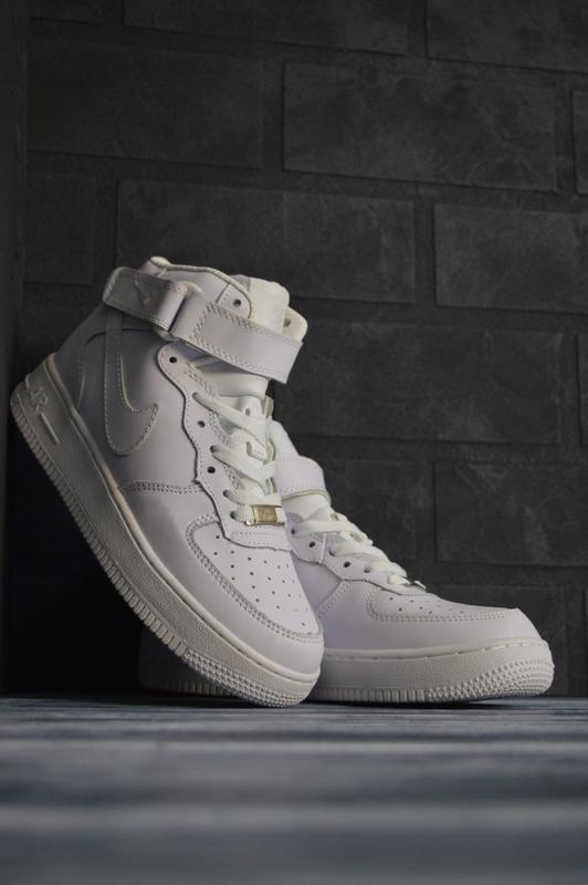 Шикарные женские кроссовки nike air force 1 high высокие белые...