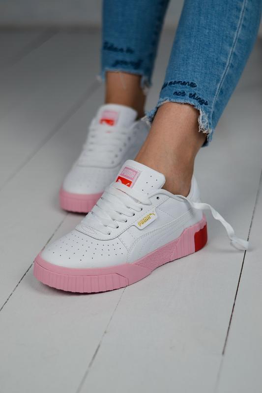 Шикарные женские кроссовки puma cali white pink белые с розовы...