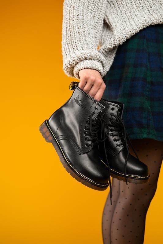 Шикарные женские ботинки dr. martens black чёрные😃( осень евро...