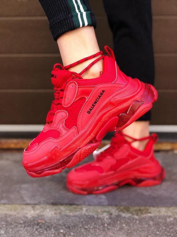 Шикарные женские кроссовки balenciaga triple s red красные 😃 (...