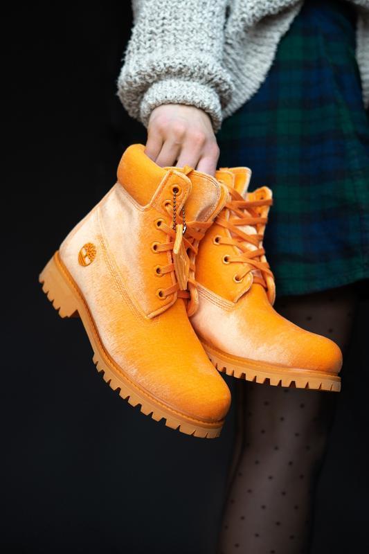 Шикарные женские ботинки timberland x off white orange (термо)...