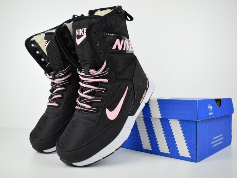 Шикарные женские сапоги ботинки дутики nike zoom сапоги чёрные...