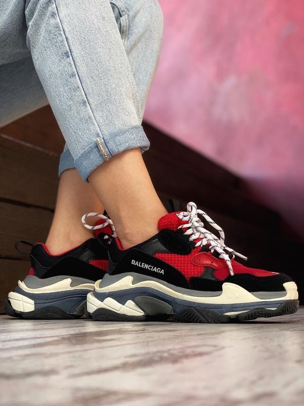Шикарные мужские кроссовки balenciaga triple s red black😃 (вес... - Фото 2