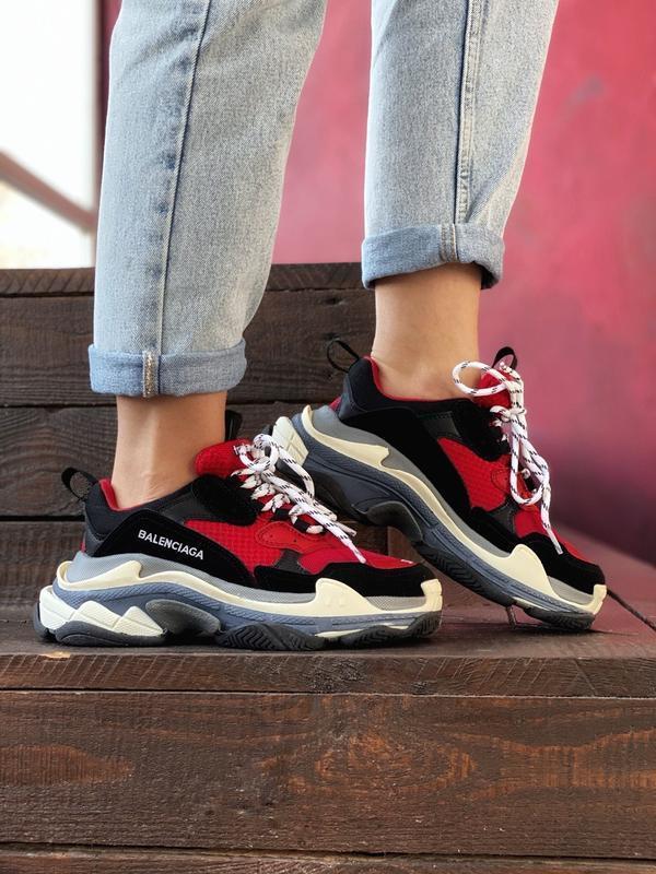 Шикарные мужские кроссовки balenciaga triple s red black😃 (вес... - Фото 5