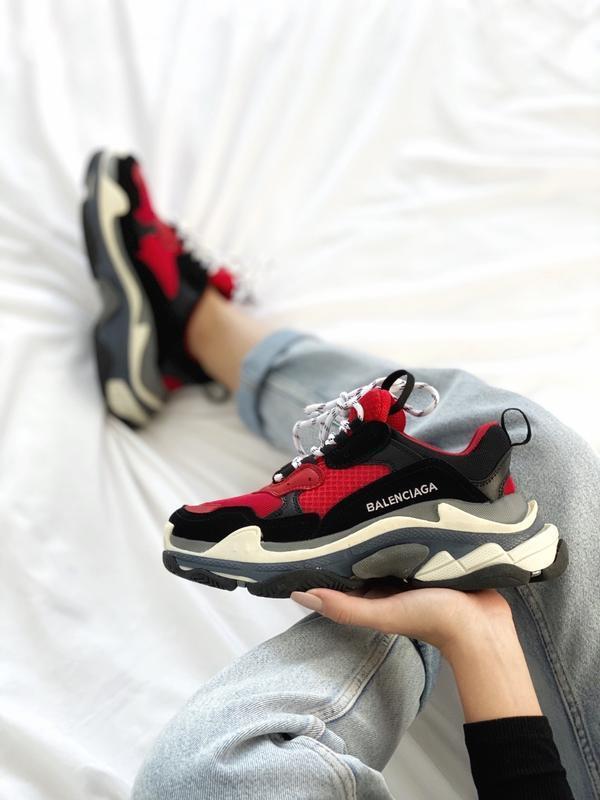 Шикарные женские кроссовки balenciaga triple s red black😃 (вес...