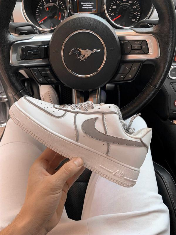 Шикарные мужские кроссовки nike air force 1 low white reflecti...