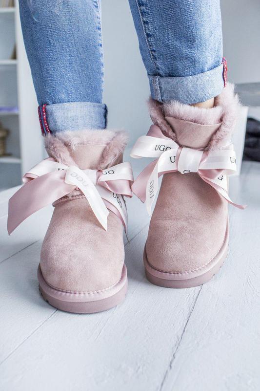 Шикарные женские угги сапоги ugg mini bailey bow pink розовые😃...