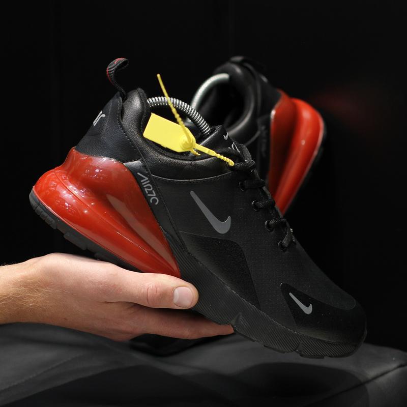 Шикарные мужские кроссовки nike air max 270 black red чёрные с...