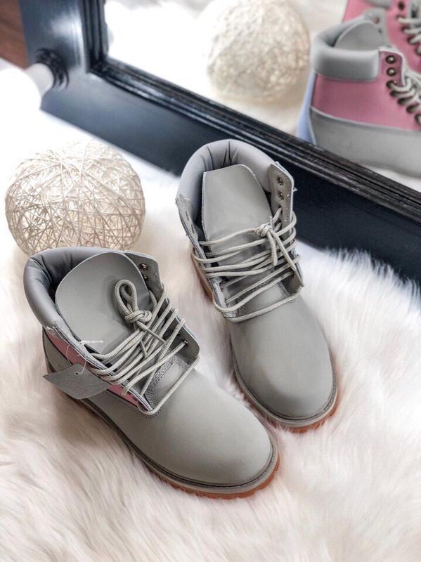 Шикарные женские ботинки timberland pink grey серые термо😃(осе...
