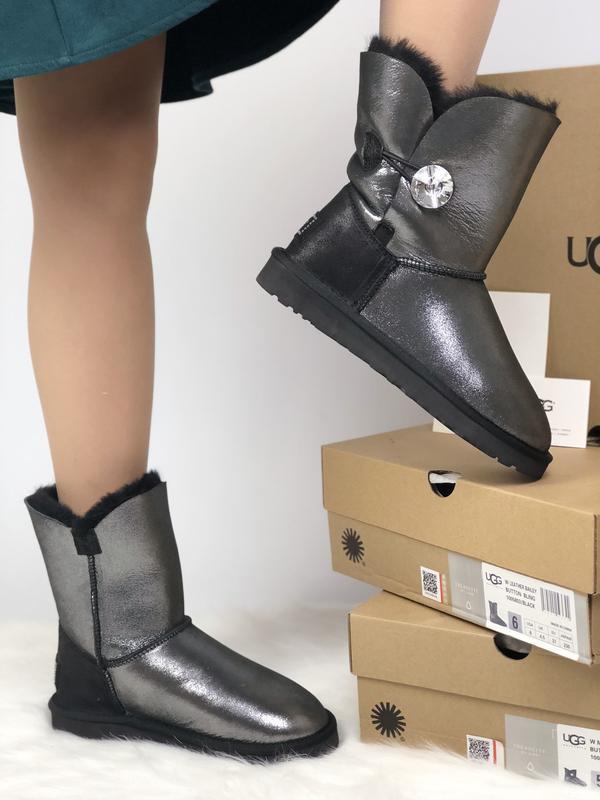 Шикарные женские сапоги угги ugg leather bailer button black ч... - Фото 4
