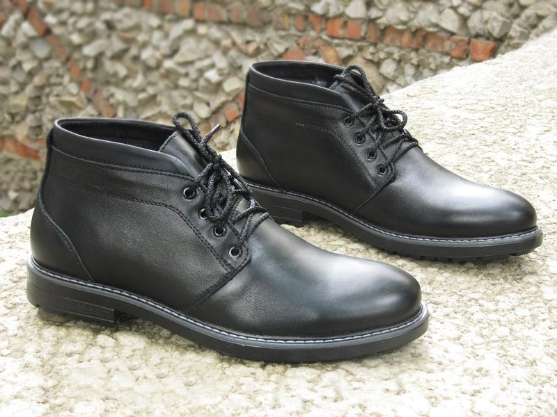 Шикарные мужские ботинки сапоги дезерты чёрные кожанные зимние... - Фото 4