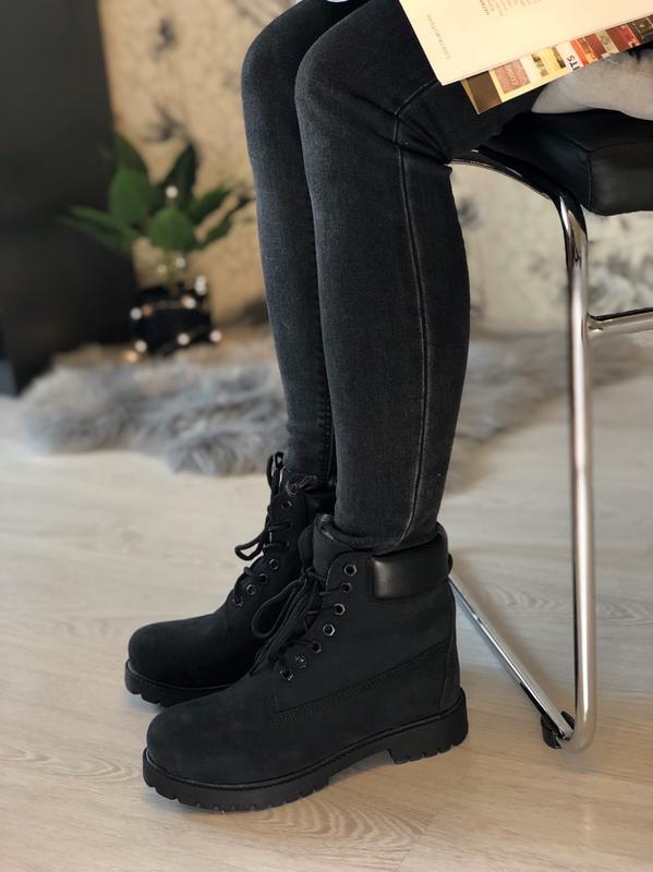 Шикарные женские ботинки timberland с мехом чёрные😃(осень евро...