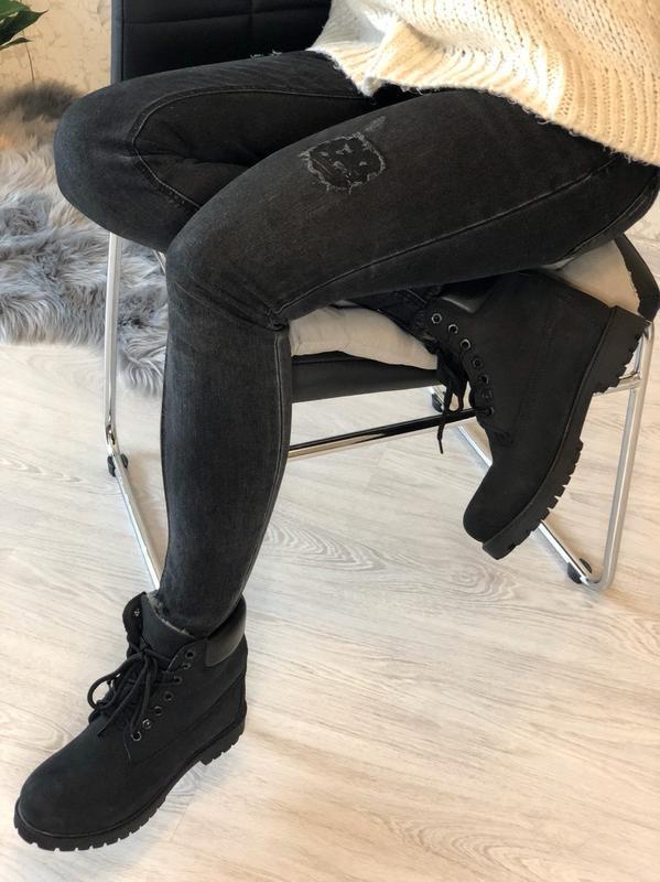 Шикарные женские ботинки timberland с мехом чёрные😃(осень евро... - Фото 2