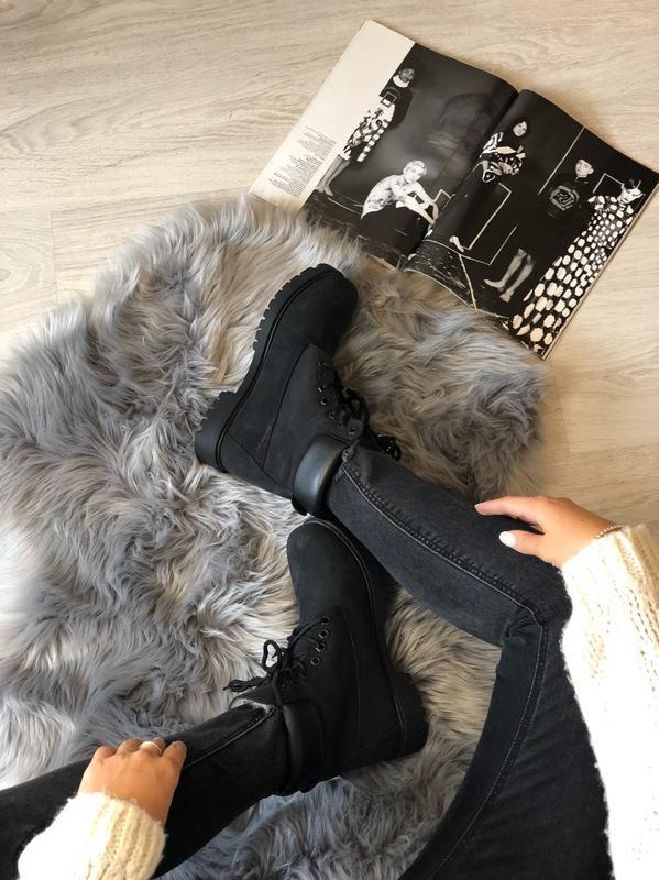 Шикарные женские ботинки timberland с мехом чёрные😃(осень евро... - Фото 3