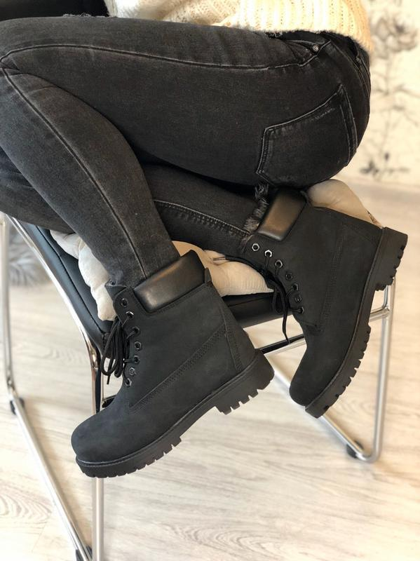 Шикарные женские ботинки timberland с мехом чёрные😃(осень евро... - Фото 4