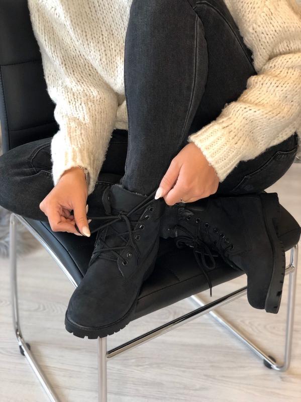 Шикарные женские ботинки timberland с мехом чёрные😃(осень евро... - Фото 5