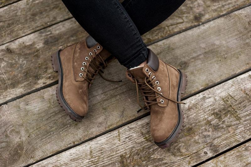 Шикарные женские ботинки timberland с мехом коричневые зимние ... - Фото 4
