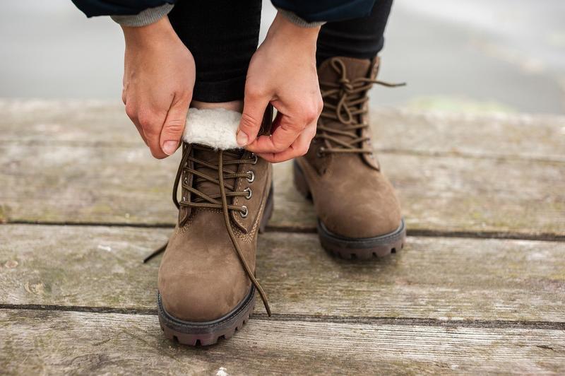 Шикарные женские ботинки timberland с мехом коричневые зимние ... - Фото 5