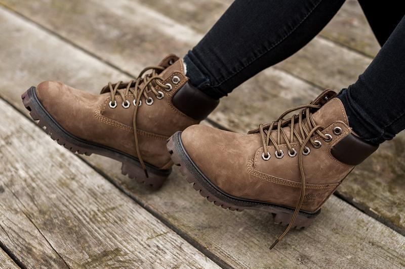 Шикарные женские ботинки timberland с мехом коричневые зимние ... - Фото 6