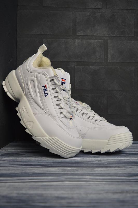Шикарные женские кроссовки fila disruptor 2 white белые с мехо...