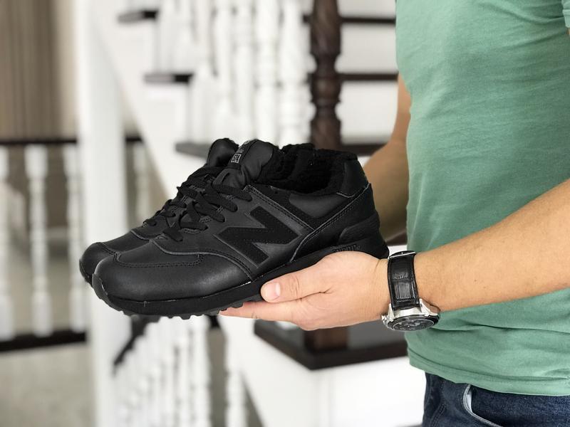 Шикарные мужские кроссовки new balance 574 чёрные с мехом зимн...