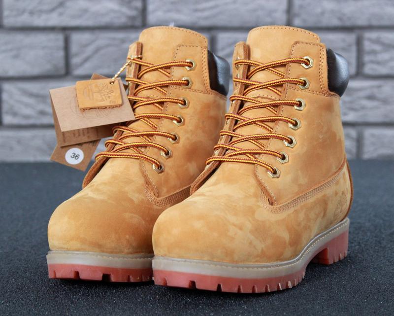 Шикарные женские ботинки timberland boots рыжие с мехом зимние...