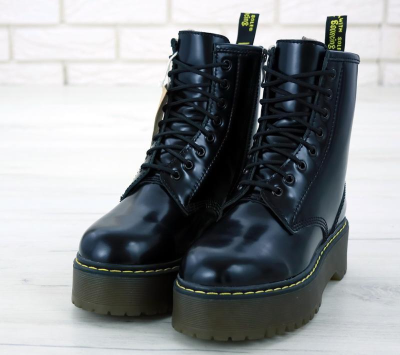 Шикарные женские ботинки dr. martens jadon black с мехом😃(зима)