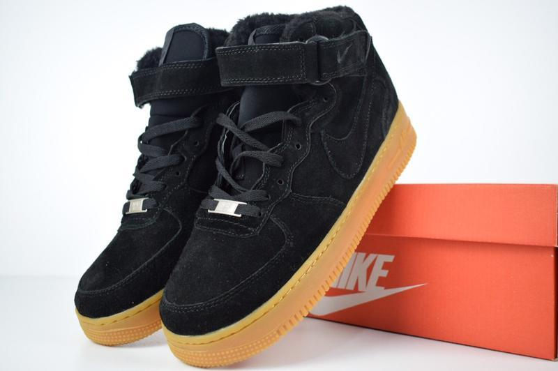 Шикарные женские кроссовки nike air force 1 high с мехом😃(зима)