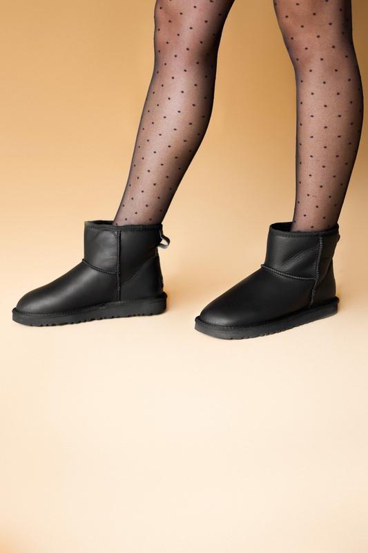 Шикарные женские сапоги угги ugg classic mini black lather чёр... - Фото 6