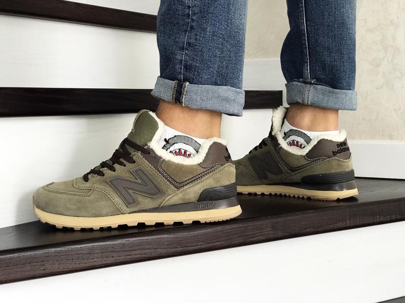 Шикарные мужские кроссовки new balance 574 khaki хаки с мехом ... - Фото 2
