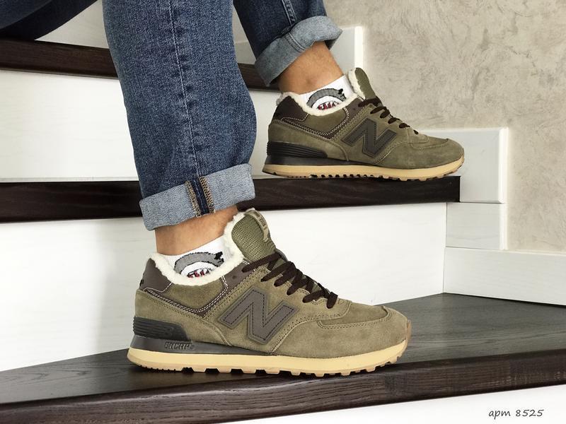 Шикарные мужские кроссовки new balance 574 khaki хаки с мехом ... - Фото 3