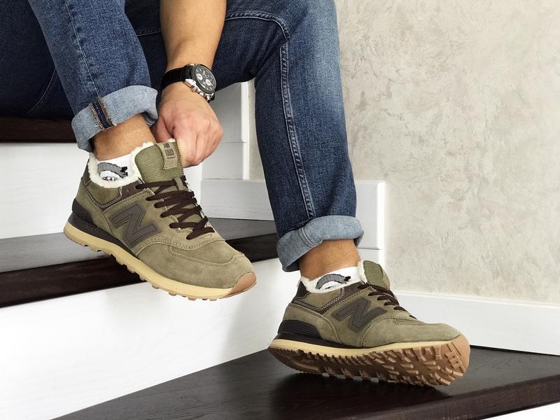 Шикарные мужские кроссовки new balance 574 khaki хаки с мехом ... - Фото 4