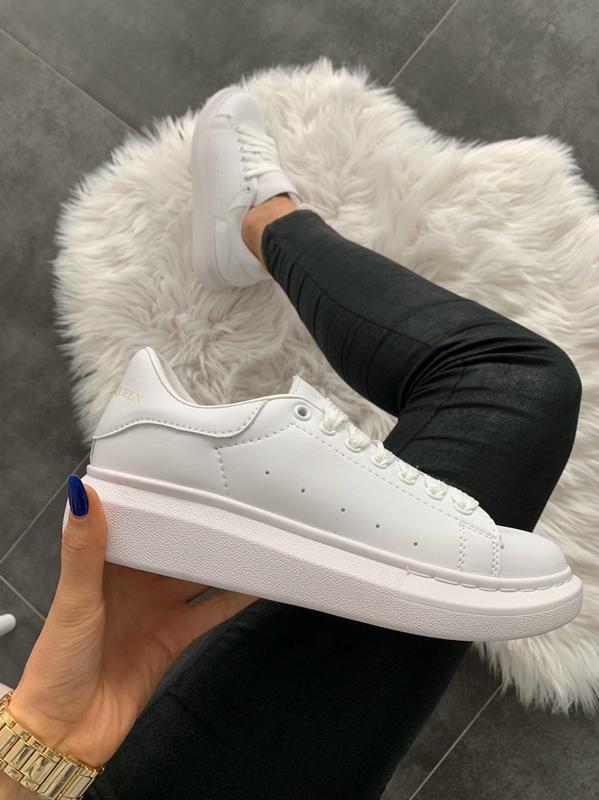 Шикарные женские кроссовки alexander mcqueen full white белые😃...