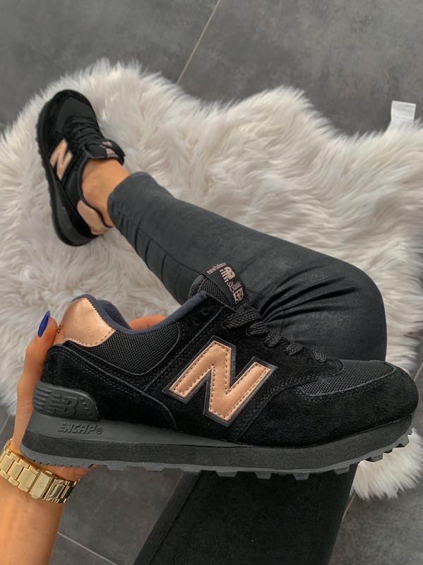 Шикарные женские кроссовки new balance 574 black gold 😃 (весна...