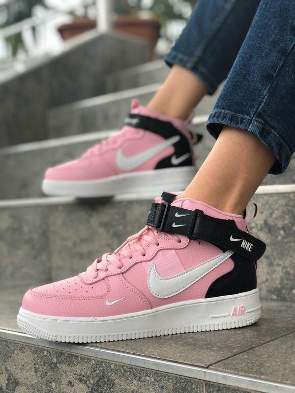 Шикарные женские кроссовки nike air force 1 high pink розовые ...